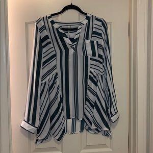 NWT le shop striped boho blouse